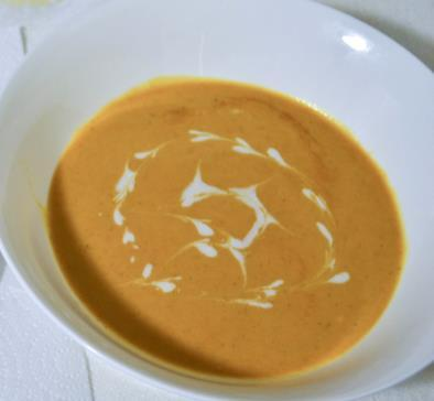 Coconut Soup 1 ½ pounds orangefleshed sweet potatoes 1 tbs vegetable oil 1 onion, chopped 1 (2 inch) piece fresh ginger root, thinly sliced 1 tbs red curry paste 1 (15 oz) can unsweetened