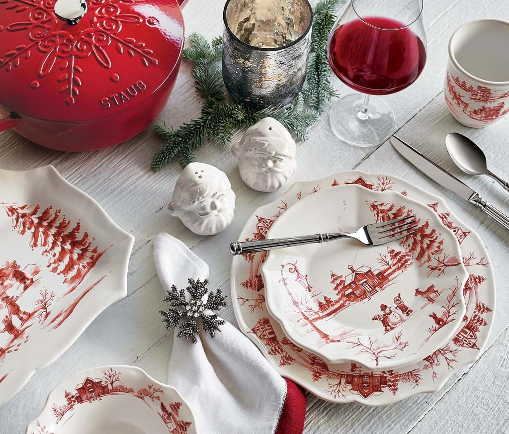 3 WINTRY WONDERLND E NEW ND EXLUSIVE Let it snow handmade in Italy for Sur La Table and dressed for the season with cheerful vintage charm, our Snowy Lane collection is all the more reason to gather