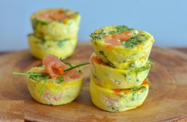 SMOKED SALMON MINI FRITTATAS 1 large whole egg 1) Set oven to 350F. 2 egg whites 2) Beat eggs together with 2 tbsp 2% Greek yogurt Greek yogurt.