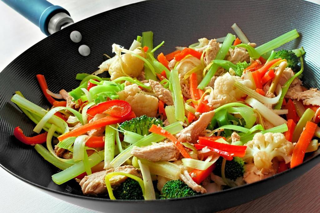 HEALTHY CHICKEN VEGGIE STIR FRY 6oz chicken breast skinless 1 cup mixed vegetables Soy sauce Seasoning Garlic powder Ginger Onion powder Paprika 1) Season and