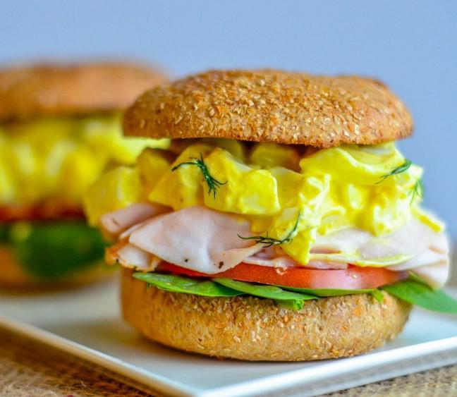 TURKEY & EGG SALAD SANDWICH 1 egg 1) Boil eggs. Once done, peel 2 egg whites eggs. Place in a bowl. 1/4 cup 2% Greek yogurt 2) Remove the egg yolk from 2 1/2 tbsp mustard of the eggs.