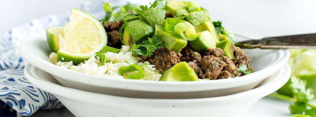 Beef Burrito Bowl with Cauliflower Rice 11 ingredients 30 minutes 4 servings 1. In a large skillet heat half of the oil over medium.