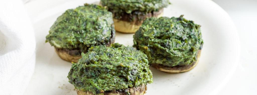 Spinach & Goat Cheese Stuffed Mushrooms 7 ingredients 40 minutes 4 servings 1. Preheat oven to 375ºF (191ºC) and line a baking sheet with parchment paper. 2.