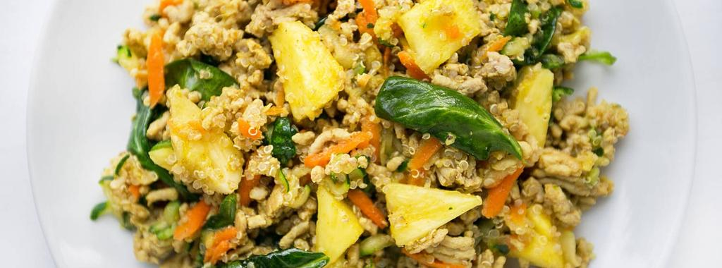 Turkey Pineapple Quinoa Bowl Low FODMAP 13 ingredients 30 minutes 2 servings 1. Place quinoa and water in a saucepan and bring to a boil. Turn down to simmer and cover. Let simmer for 12 minutes.