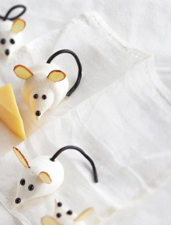 Cute Li l Meringue Mice Delight the kids with these artistic meringue cookies.