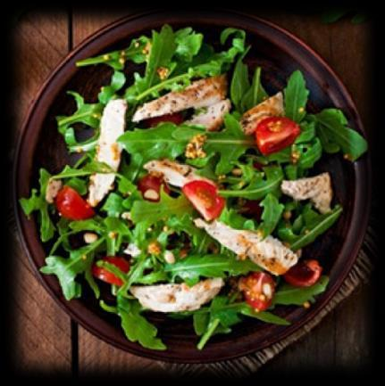 Chicken Salad 4 oz of shredded rotisserie chicken 2 cups of chopped mixed salad greens 1 teaspoon of olive oil Lemon juice for