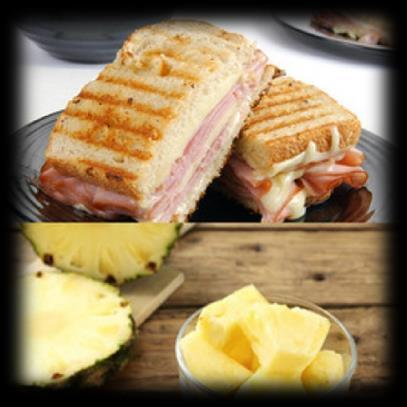 Ham & Cheese Sandwich with Side Pineapple 2 slices of whole wheat bread 5 oz of ham 1 tablespoon of cheddar 1 tablespoon of light mayo 1 teaspoon Dijon mustard 1 cup of pineapple chunks Whisk