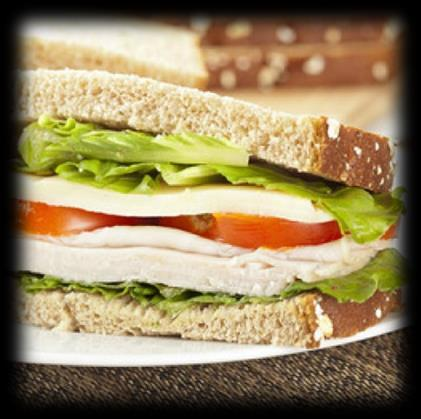 9g Turkey Sandwich 2 slices of whole wheat bread 3 oz of deli turkey 2 1/2 thick tomato slices 1 romaine lettuce leaf 1 tablespoon of light