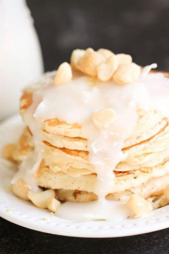 DAY 4 SMALLER FAMILY- MACADAMIA NUT PANCAKES M A I N D I S H Serves: 4 Prep Time: 10 Minutes Cook Time: 25 Minutes 1 cup all-purpose flour 2 Tablespoons sugar 2 teaspoons baking powder 1/2 teaspoon