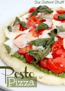 DAY 5 SMALLER FAMILY- FRESH PESTO PIZZA M A I N D I S H Serves: 4 Prep Time: 10 Minutes Cook Time: 7 Minutes 4 (8 inch) flat pita breads 3/4 cup prepared pesto 1 1/2 cups shredded mozzarella cheese 1