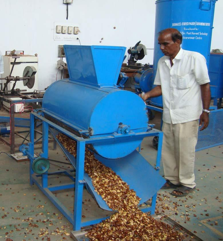 OUAT Mahua seed decorticator (power operated) Function: Decortication of mahua seed period to milling Capacity : 100 kg/h Cost: Rs. 25,000 with 1 hp motor (approx.) Cost of operation: Rs. 22.