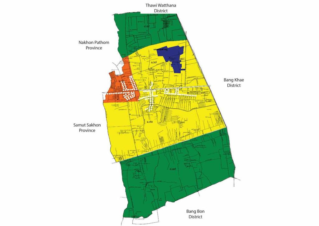 Non Khae district ongkhaem district is on the estern side of angkok. ost of the areas are for lo -density residential one yello color in fig.