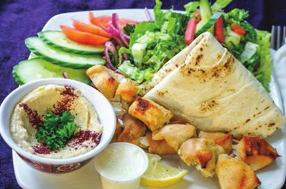 Served with garlic sauce, hummus, a Greek pita, vegetables and your choice of side. 3.