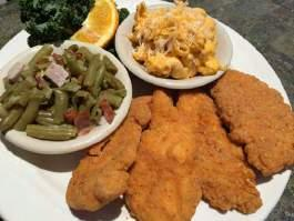 Served All Day Comfort Classics All of our comfort classic are served with two of our signature sides: Mac N Cheese Country Green Beans Hot Cinnamon Apples Hush Puppies Steamed Garlic Broccoli Fresh