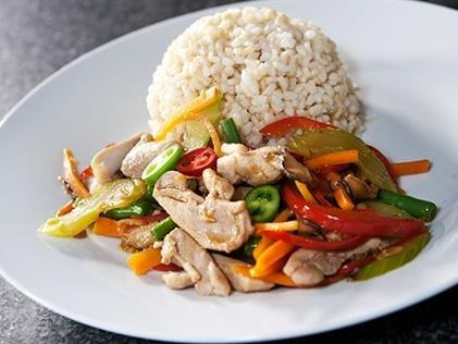 Tamari and Ginger Chicken stir fry with seasonal vegetables and brown rice Serves: 2 organic chicken breast 6 fresh shiitake mushrooms teaspoon fresh ginger, grated stick celery, sliced finely