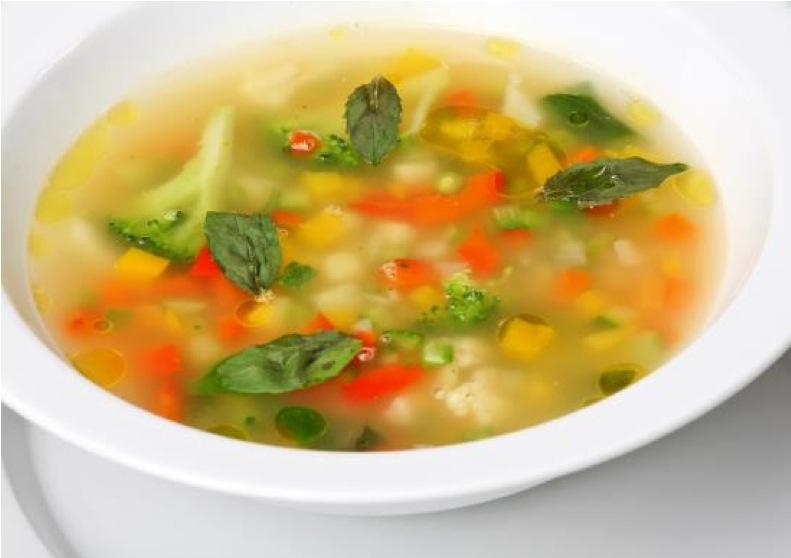 Vegetable Broth 2 2 litres water 3 stalks celery 3 large carrots onion, diced 2 cloves garlic 2 bay leaves pinch of pepper, cayenne, cumin & turmeric 200g broccoli cup beans, chopped into 3 s.
