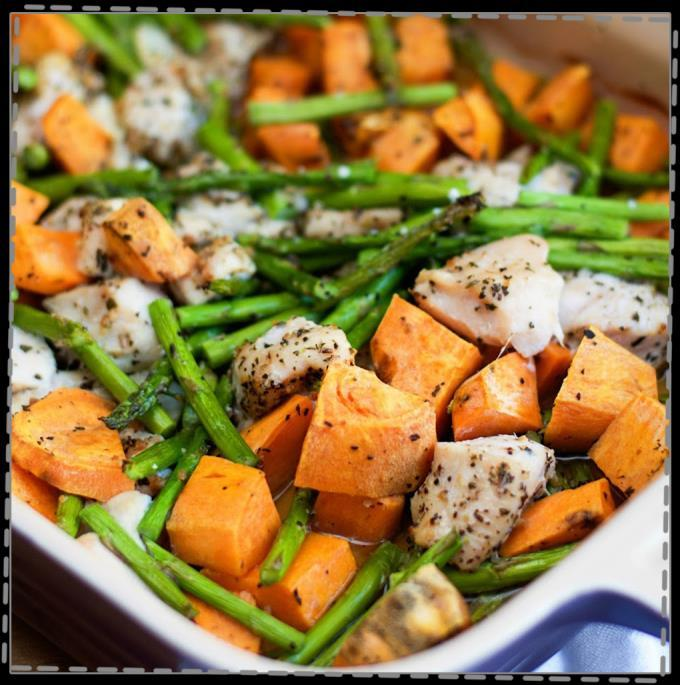 Chicken, Asparagus & Sweet Potato Skillet Prep Time: 10 mins Cook Time: 25 mins 1 pound boneless skinless chicken breasts, cut into 1/2- inch pieces Salt and pepper 1 tablespoons coconut oil 3 garlic