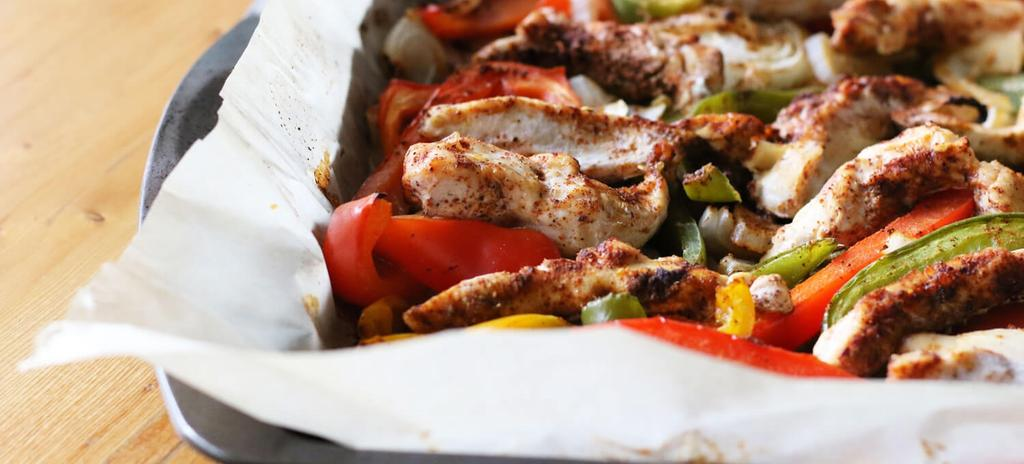 RYJ Chicken Fajitas #dinner #eggfree #nutfree #paleo #glutenfree #dairyfree 15 ingredients 40 minutes 1. Preheat oven to 425. Line a large baking sheet with parchment paper. 2.