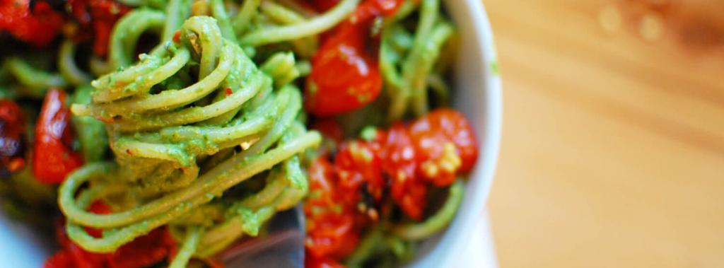 Spaghetti with Pesto & Roasted Tomatoes 10 ingredients 30 minutes 5 servings 1. Preheat oven to 420.