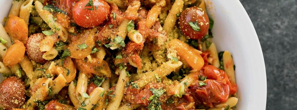 Penne with Bursted Cherry Tomato Sauce 7 ingredients 30 minutes 2 servings 1. Cook pasta according to the directions on the package. Run under cold water once cooked to prevent from over cooking. 2. In a large sauce pan, heat olive oil over medium-high heat.