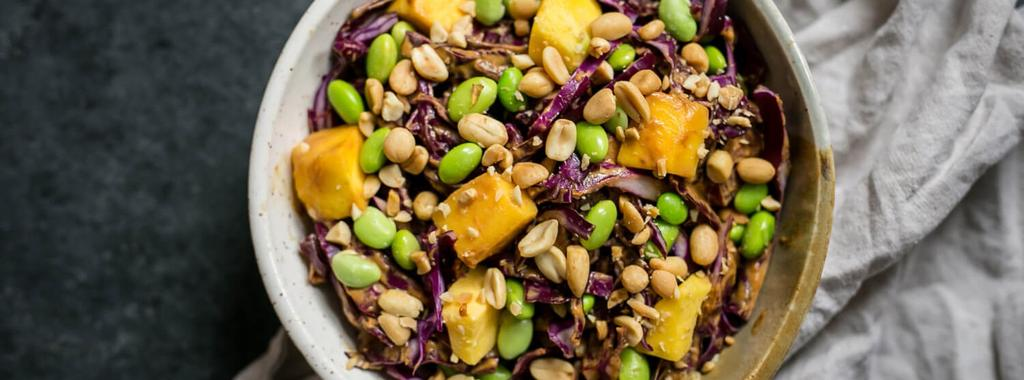 Mango, Edamame & Cabbage Salad with Peanut Sauce 9 ingredients 15 minutes 2 servings 1.