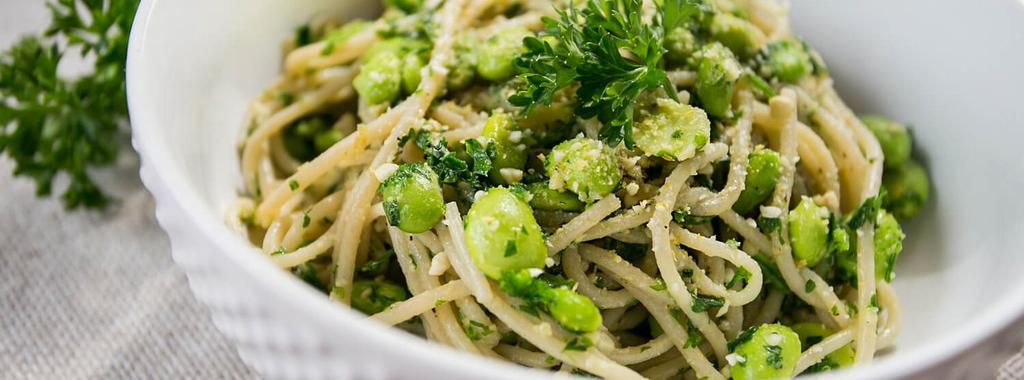 Cheesy Edamame & Parsley Pasta 8 ingredients 15 minutes 4 servings 1. Bring a large pot of water to a boil and add brown rice spaghetti. Cook according to the directions on the package.