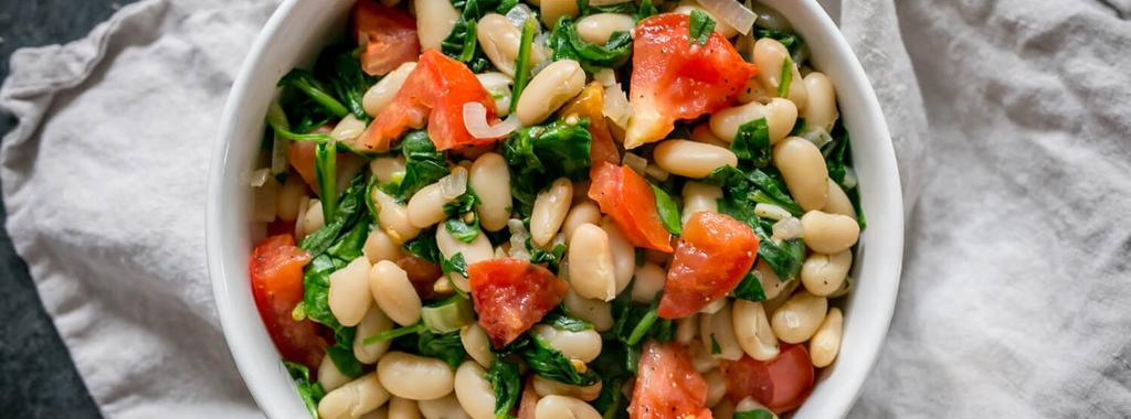White Bean, Spinach & Tomato Salad 7 ingredients 10 minutes 2 servings 1. Heat olive oil in a large pan over medium heat. Add shallots and garlic and saute for 1 to 2 minutes. 2. Add white beans, spinach and tomato.