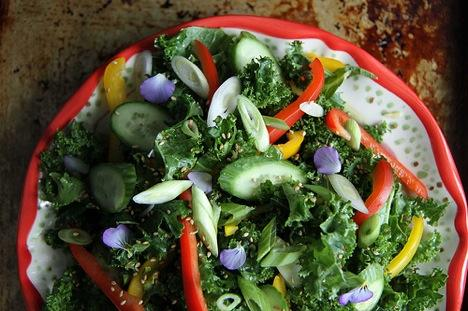 Asian Kale Salad with Sesame Dressing With Grilled Chicken Ingredients 8 cups curly kale leaves, stems removed, torn into bite sized pieces 1 cup thinly sliced red bell pepper 1 cup thinly sliced