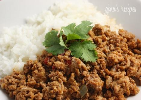 Turkey Picadillo 1 1/2 lb 93% lean ground turkey 4 oz (1/2 can) tomato sauce kosher salt fresh ground pepper 1 tsp ground cumin 2 bay leaves Sofrito: 1/2 large onion, finely chopped 2 cloves minced