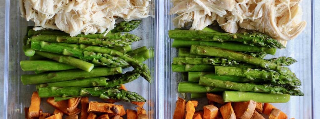 Chicken, Asparagus & Sweet Potato 4 ingredients 30 minutes 4 servings 1. Preheat the oven to 425 degrees F and line a baking sheet with parchment paper. 2.
