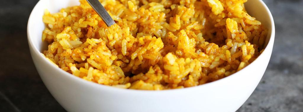 Turmeric Chili Rice 5 ingredients 15 minutes 4 servings 1. Cook the rice according to the directions on the package. 2.