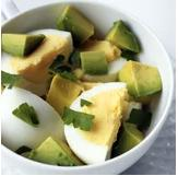 Avocado and Egg Breakfast Hard-Boiled Eggs With Avocado 2 hard-boiled eggs 1/2 avocado, diced 1 teaspoon fresh herbs, optional