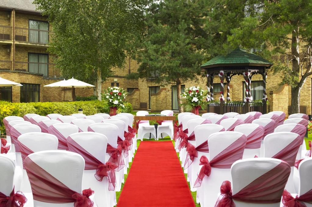 Cheshunt Marriott Hotel WEDDING CEREMONY 350.00 Inclusive of VAT @ 20% Set with white chair covers our picturesque Courtyard Garden offers the perfect setting for your Wedding Ceremony.