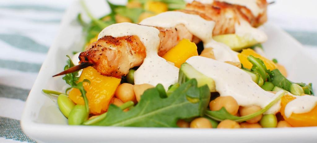 Mango Chickpea Salad with Grilled Chicken Kabobs #nutfree #eggfree #dinner #lunch #glutenfree #dairyfree #barbecue 11 ingredients 30 minutes 1.