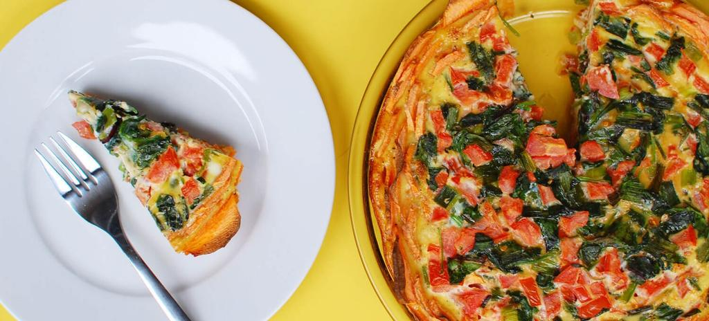 Spinach Quiche with Sweet Potato Crust #breakfast #vegetarian #paleo #nutfree #glutenfree #dairyfree 8 ingredients 50 minutes 2 Servings 1. 2. 3. 4. 5. 6. Preheat oven to 425.
