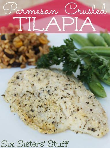 DAY 4 SMALLER FAMILY HEALTHY-PARMESAN CRUSTED TILAPIA M A I N D I S H Serves: 4 Prep Time: 15 Minutes Cook Time: 20 Minutes Calories: 337 Fat: 11.7 Carbohydrates: 7.9 Protein: 49 Fiber: 0.
