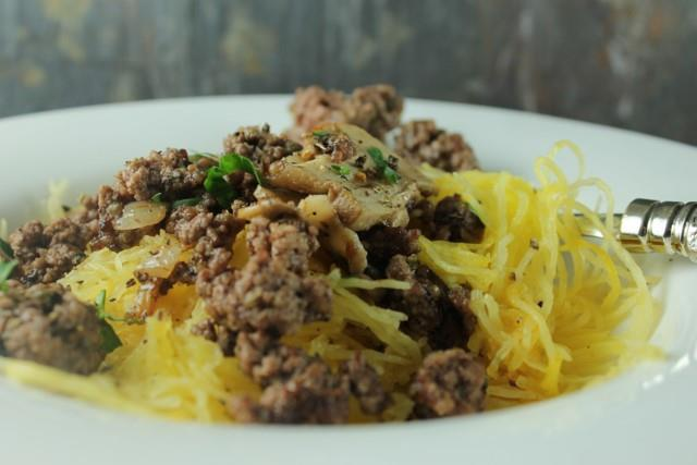 Meal # 8 Lamb and Spaghetti Squash Number of servings 4 Approximate cooking time: 60 minutes Calories 501, Fat 34g Carbohydrates 24g, Protein 25g 1 medium spaghetti squash 1 pound(s) lamb, ground,