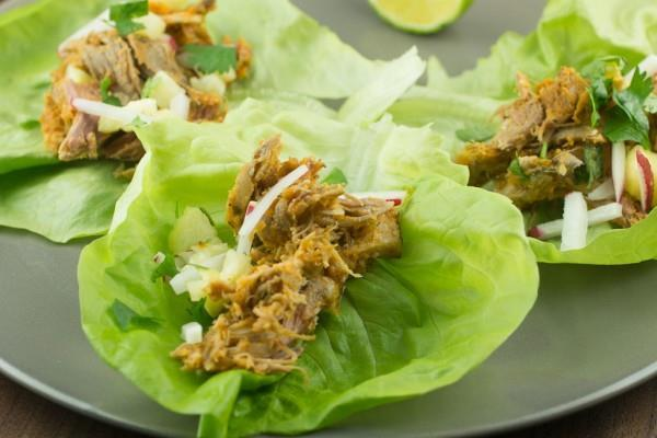 MEAL PLAN RECEPIE WEEK 16 Meal # 28 Shredded Pork and Pineapple Lettuce Wraps Number of servings 4 Approximate cooking time: 4 hours Calories 631, Fat 45.1g Carbohydrates 11.7g, Protein 43.
