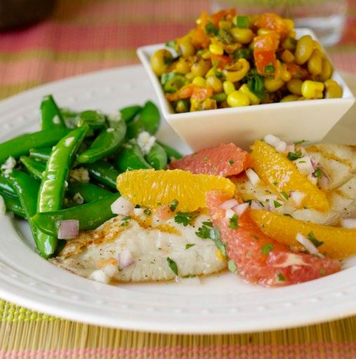 MONDAY FEBRUARY 25 TILAPIA WITH GRAPEFRUIT SALAD SERVES 4 Look for grapefruits that feel heavy for their size, because they will be extra juicy.