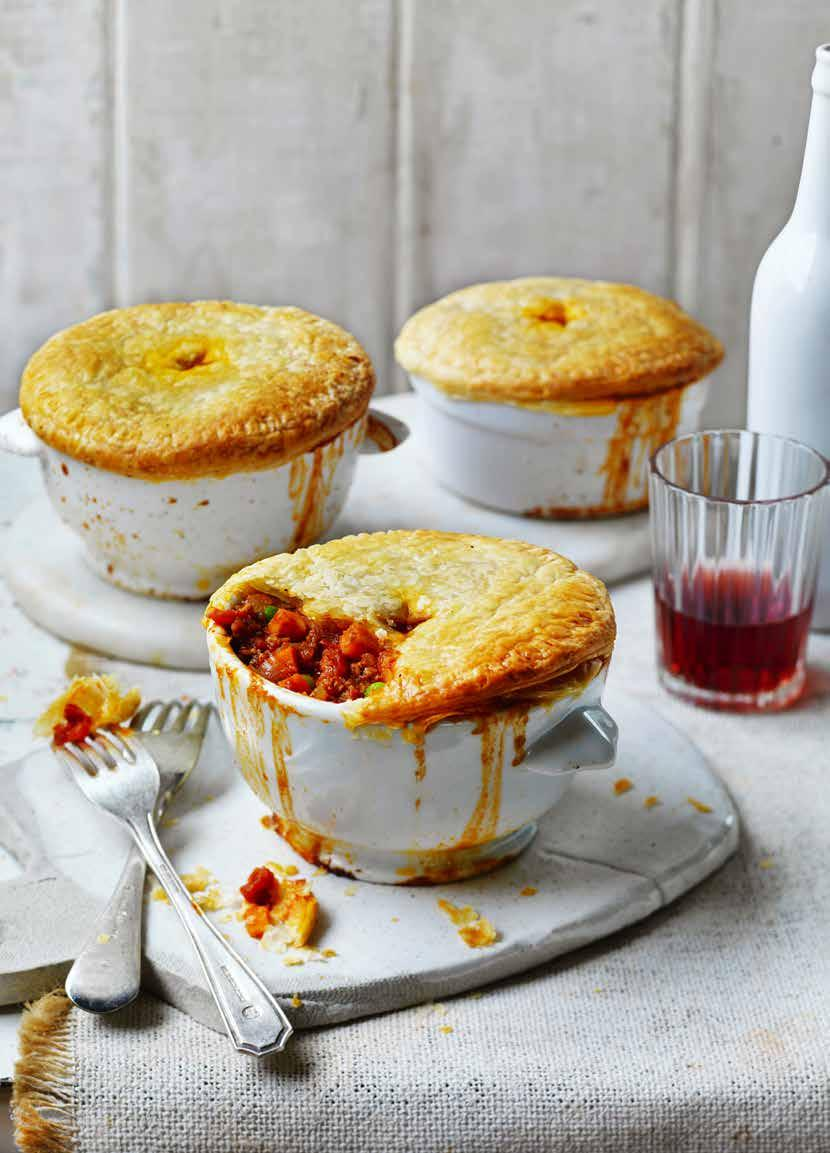 Lamb, Tomato and Sweet Potato Pot Pies Prep: 45 mins Cooking: 1 hour SERVES: 4 1 tbs olive oil 1 onion, finely chopped 2 garlic cloves, finely chopped 500g lamb mince 1 stalk celery, finely diced