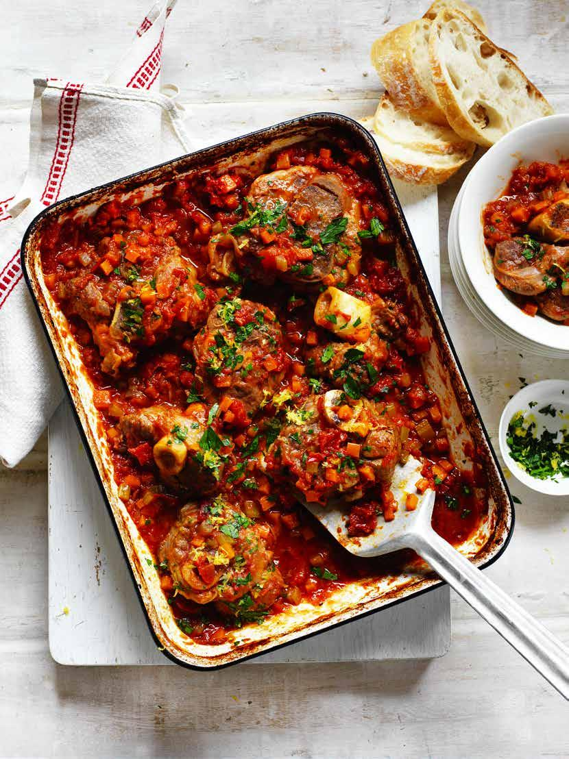 Slow Baked Veal Shanks in Tomato Sauce Prep: 20 mins Cooking: 2 hours 15 mins SERVES: 4-6 8 pieces thick-sliced veal shanks ¼ cup plain flour ¼ cup olive oil 2 carrots, finely chopped 2 stalks