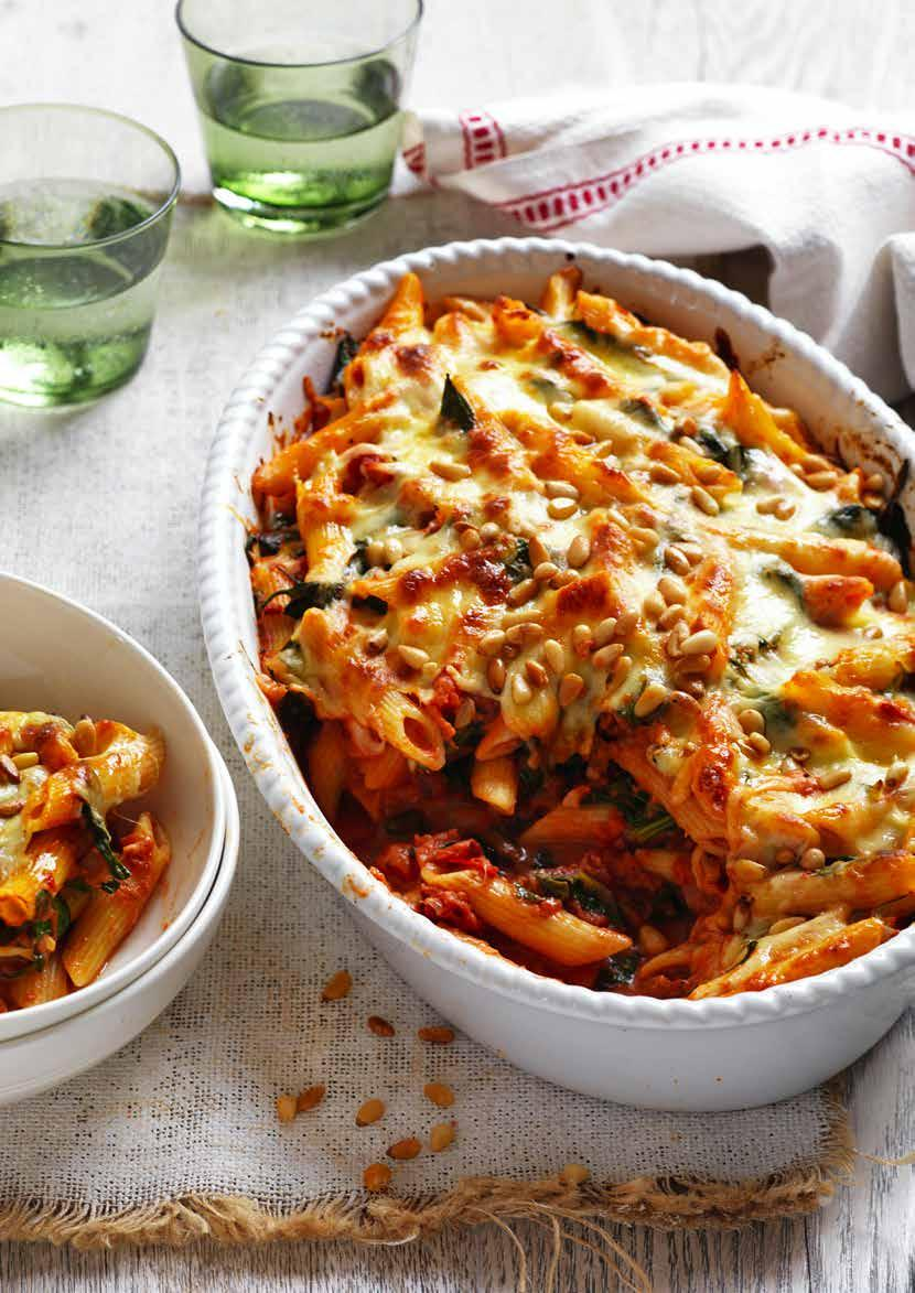 Creamy Tomato, Spinach and Pine Nut Bake Prep: 20 mins Cooking: 40 mins SERVES: 4 400g dried penne pasta 1 ½ tbs olive oil ¼ cup pine nuts 1 brown onion, finely chopped 2 garlic cloves, finely