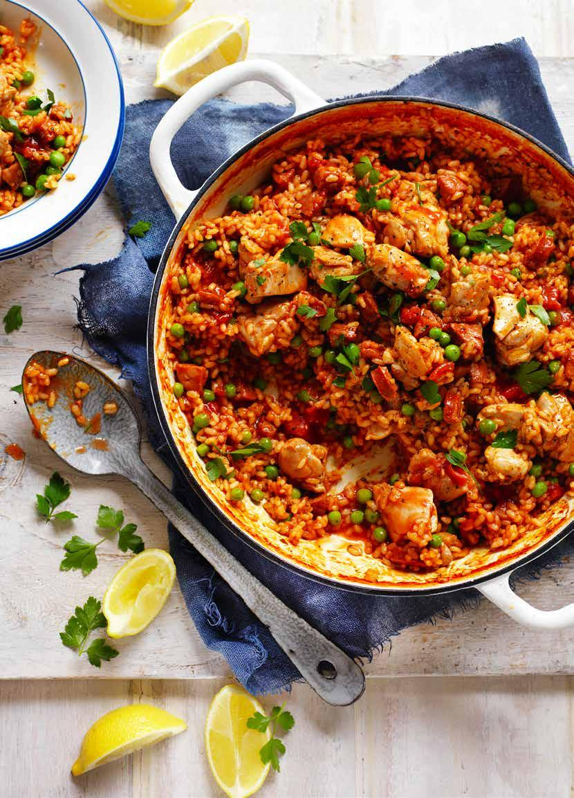 Chicken, Tomato and Chorizo Spanish Style Rice Prep: 15 mins Cooking: 35 mins SERVES: 4 1 tbs olive oil 600g chicken thigh fillets, cut into bite-sized pieces 2 chorizo sausages, diced 2 cups Arborio