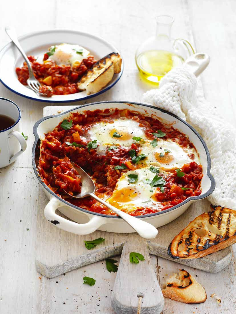 Tomato and Capsicum Pan Eggs Prep: 15 mins Cooking: 30 mins SERVES: 4 2 tbs olive oil 1 small brown onion, finely chopped 3 garlic cloves, finely chopped 1 tsp ground cumin 1 small red or yellow