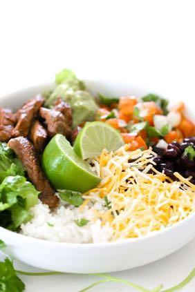 DAY 7 SMALLER FAMILY- STEAK BURRITO BOWL M A I N D I S H Serves: 4 Prep Time: 1 Hour 10 Minutes Cook Time: 10 Minutes 2 pounds flank steak (sliced) 1 teaspoon minced garlic 1/4 cup soy sauce 1/4 cup