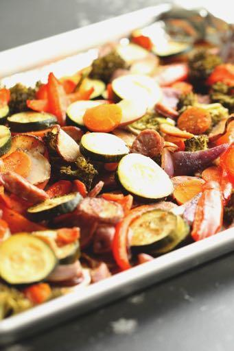 DAY 4 SMALLER FAMILY- ONE PAN GARLIC SAUSAGE AND VEGETABLES M A I N D I S H Serves: 4 Prep Time: 15 Minutes Cook Time: 30 Minutes 1 cup broccoli (roughly chopped) 1 cup carrots (sliced) 2 zucchini