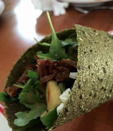 Lunch Wrap Pulled, slow cooked spicy bbq eye of round baby arugula shredded green cabbage 3 oz.