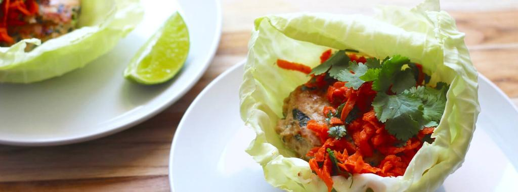 Thai Turkey Burgers with Almond Carrot Slaw 12 ingredients 30 minutes 4 servings 1. In a large bowl, combine the turkey, green onion, cilantro, basil, garlic, and ginger.