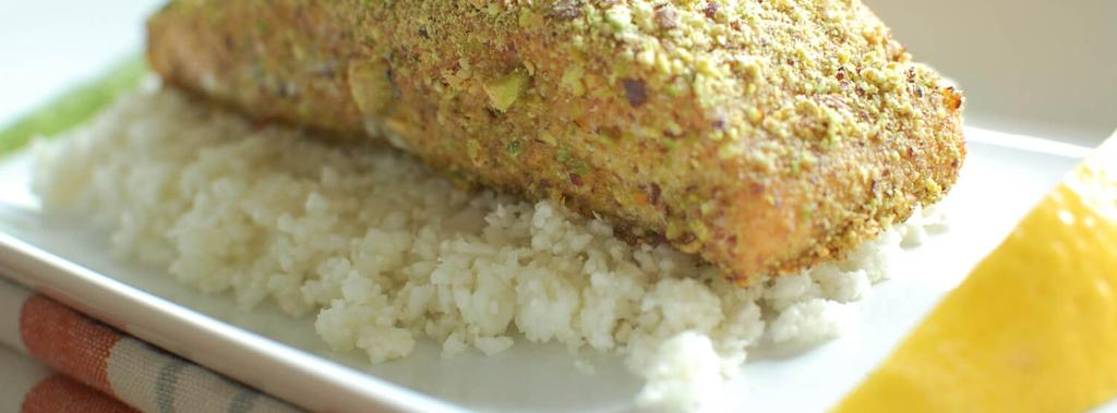 Pistachio Crusted Salmon 9 ingredients 30 minutes 4 servings 1. Preheat oven to 375. Line a baking sheet with parchment paper. 2.