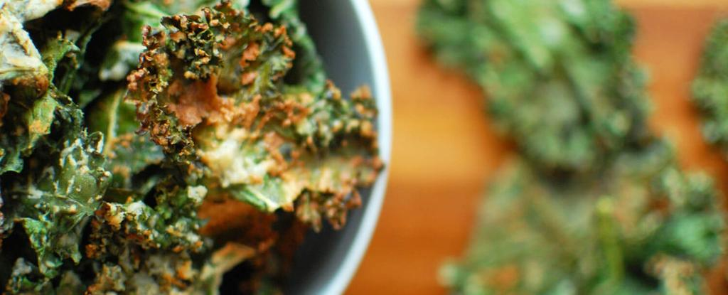 Sour Cream n' Onion Kale Chips 6 ingredients 30 minutes 8 servings 4. 5. 6. Preheat oven to 350. Line a baking sheet with foil, shiny side facing down.
